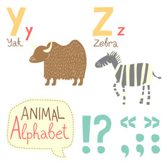 Cute zoo alphabet in vector. Y, z, letters.