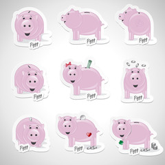 Piggy Bank Icons Set - Isolated On Gray Background