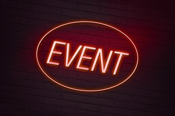 Event neon sign on a club