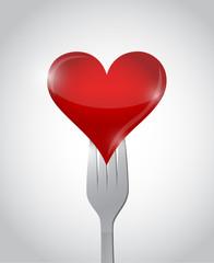 fork and heart illustration design