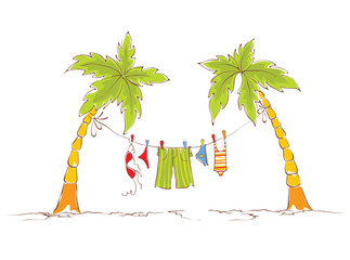 Funny illustration - a family vacation on Tropics