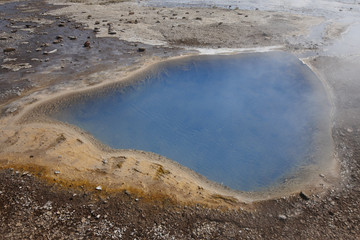 Iceland. South area. Golden Circle. Hot water hole nearby Geysyr