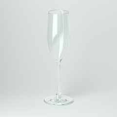 Flyute Glass For Champagne On White Background
