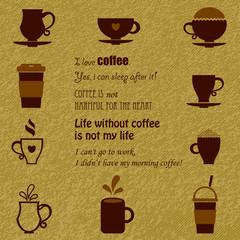 Vector coffee icons set