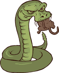 Hungry Snake Eating a Rat Cartoon
