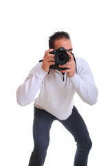 Young photographer with camera, isolated
