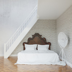 White Vintage Bedroom With Stairs To Second Floor