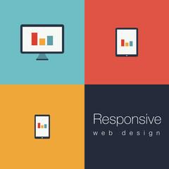 Fototapeta Set of flat responsive web icons