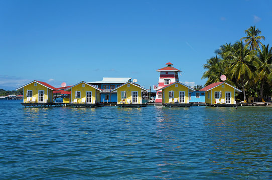 Tropical vacation bungalows over water