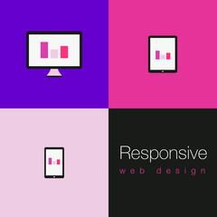 Fototapeta Set of flat responsive web icons - Violet