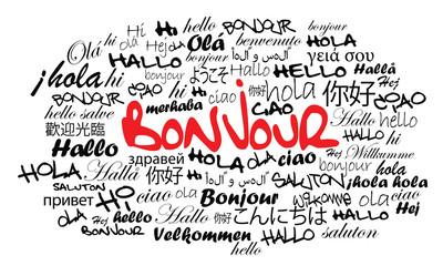 Bonjour Hallo Hello Olá Holla nuage de mots illustration