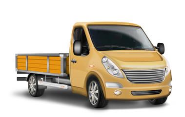 Pritschenwagen, Kleintransporter freigestellt, isoliert gelb