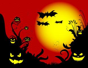 Halloween Pumpkins Background red