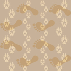 Seamless pattern ways dog paw prints and legs of a man.