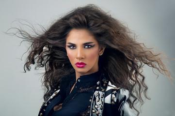 Beautiful Fashion Luxury Makeup,Beauty Brunette model woman make up