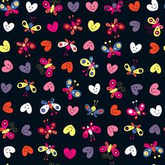cute butterflies & hearts pattern