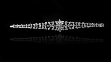 Wall Mural - Jewelry diamond bracelet on a black background