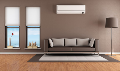 Living room with air conditioner