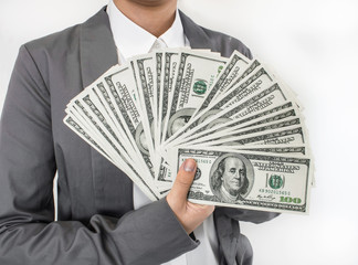 Business woman  spread of money  on white background