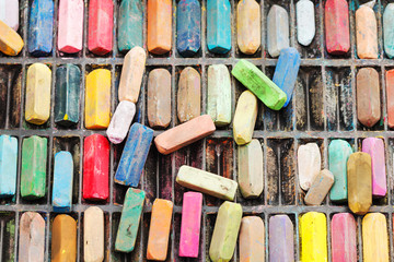 pack of many used artistic dry pastels