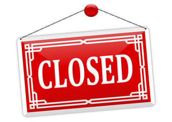 "Red sign on the chain with the word ""closed"" - vector"