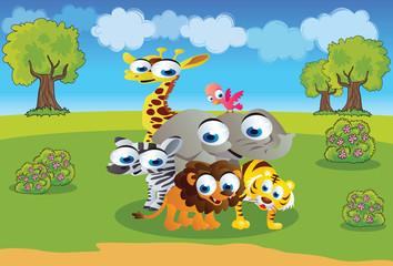 safari animals cartoon with a beautiful background scenery