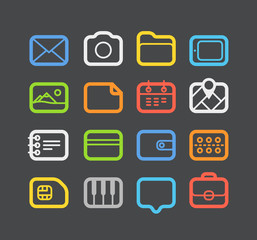 Different color Web icons set with rounded corners. Design eleme