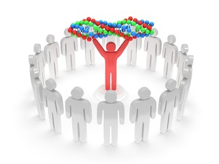 White people around red man with DNA chain. 3D.