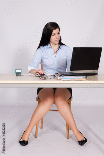 Female office worker gets on her desk and pulls her upskirt panties down № 701657 загрузить