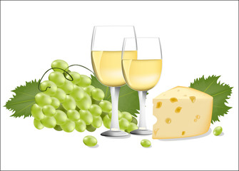 wine with cheese and grapes vector illustration