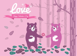Cute couple bears in the forest. Valentine's Day Cards