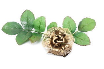 beautiful iron rose on white background