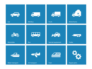 Cars and Transport icons on blue background.
