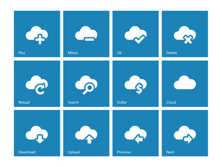 Cloud icons on blue background.