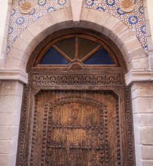 Wooden door in the historical Medina of Essaouira, Morocco