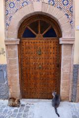 Wooden door in the historical Medina of Essaouira, Morocco