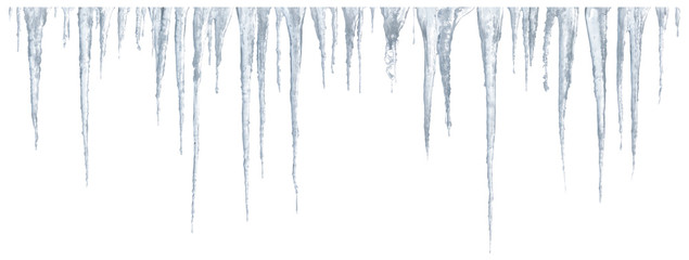 Icicles set on white background