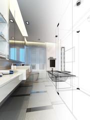 sketch design of interior bathroom