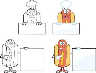Hot Dog Cartoon Mascot Characters 3. Collection Set
