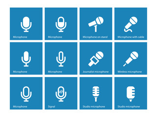 Microphone icons on blue background.