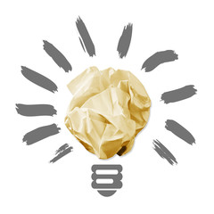 Wad of crumpled paper in the form of light bulbs