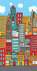 Crowded downtown city cartoon