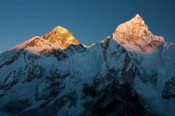 Wall Mural - Summit of Mt. Everest and Nuptse at Sunset
