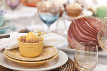 Selective focus view of Easter dining scene