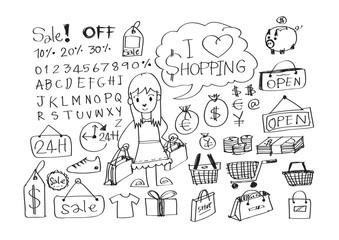 Hand draw sketch Shopping icons set