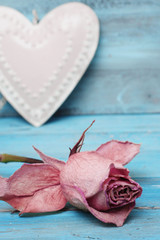 Beautiful rose and heart on romantic blue background