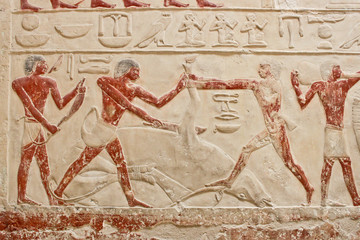 An ancient egyptian relief in Saqqara.