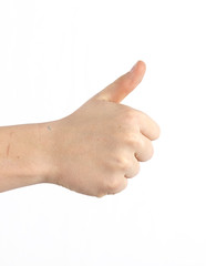 handsome teenage boy shows thumbs up sign
