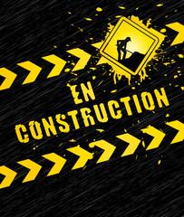En construction. Fond noir bannière chantier.