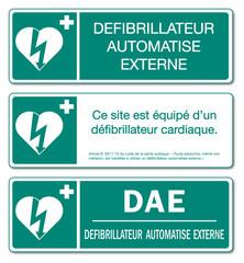 Panneau défibrillateur automatisé externe. DAE.